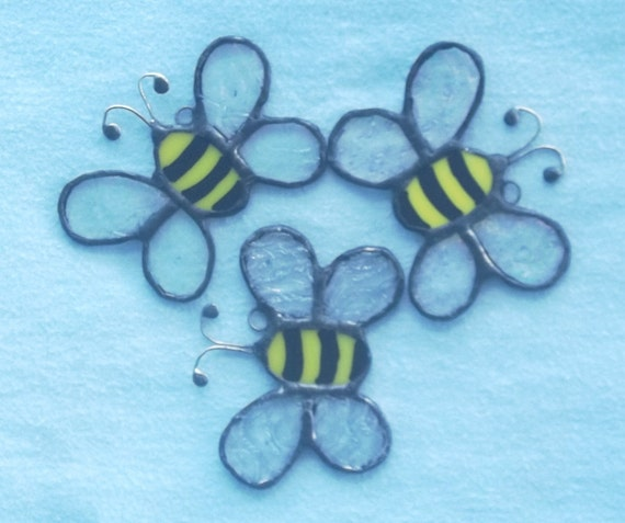 Bee ornament set or wedding favors stained glass cute honey bees