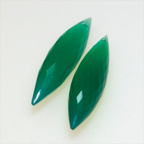 AAA Large Green Onyx Microfaceted Marquis Briolettes (2)
