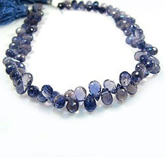 Half Strand Icy Blue Iolite Faceted Teardrop Briolettes (4 Inches)