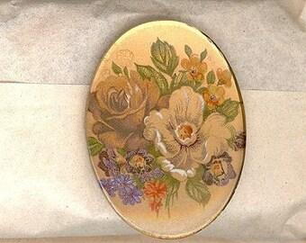 1 Vintage Glass Floral Decal Cabochons 1960s West German  40m No.264