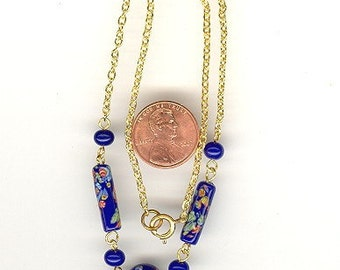 Vintage Made In Japan ROYAL BLUE MILLEFIORI Glass Beaded 16 Inch Necklace.