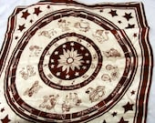 Horoscope Scarf in brown and white