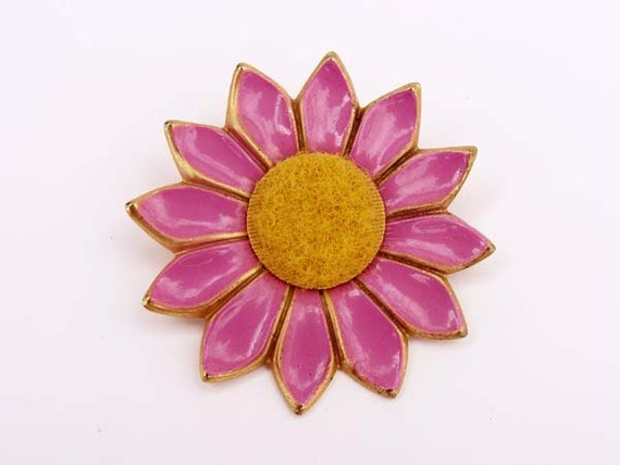 Pink and yellow Enamel Flower Brooch