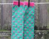 SALE--KooL KiD ArM-LeG warmers--Pink on Green Lip Print