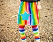 Girls Rainbow Skirt, Leg Warmer Set - Baby, Toddler, Big Kid -  You Choose Appliqué Shape or a Pocket - Great Birthday Party Outfit or Gift