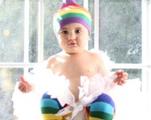 KOOL KID Rainbow Stripes Hat and Leg Warmer Set for Baby, Toddler Boy or Girl - Fun and Functional Fashion