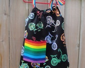 Girls Bespoke Dress in Rainbow Bike Print - You Choose Appliqué Shape/Pocket and Color - Great Gift - Perfect for Birthdays/Photo Shoots