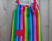 Rainbow Stripe Bespoke Dress - You Choose Appliqué Shape/Pocket and Color - Great Gift - Perfect for Birthdays and Photo Shoots
