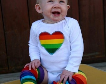 Boy or Gir Rainbow Baby Bodysuit and Leg Warmer Set - Great Birthday Party, Pride Parade or Photo Shoot Outfit - You Choose Appliqué Shape