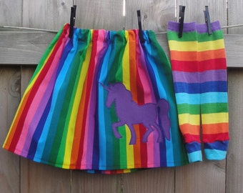 Girls Rainbow Skirt, Leg Warmer Set - Baby, Toddler, Big Kid - Choose Unicorn, Heart, Star Shape or a Pocket - Birthday Party Outfit or Gift