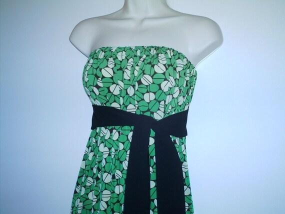 SALE Green Geometric Circle Print Strapless Dress Size S/M