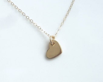 Gold  heart necklace (16 inches), Vermeil ( gold plated over .925 sterling silver)