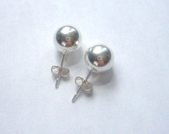 9mm Sterling silver ball  stud earrings, post earring
