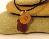 Copper Heart and Brown Great Lakes Beach Glass Mixed Metals Necklace