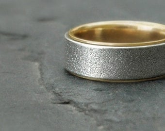 Sterling silver and 14k gold ring - White Sands Band L