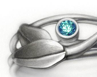 sterling silver and blue diamond ring - Blue Diamond Blossom