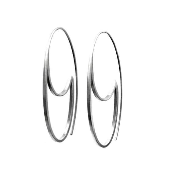Sterling silver oval hoops