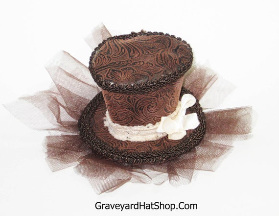 Brown Steampunk Tiny Top Hat with tea stained lace