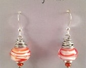 Glass Candy Stripe Dangle Earrings