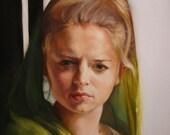 Necessary Comfort SALE original oil figurative portrait narrative female church painting by Kim Dow SALE