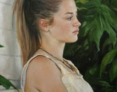 12x18 Print of oil painting narrative figurative portrait female 'Girl on Bench'