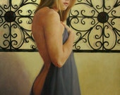 Oil portrait figurative classical nude female 30x20 inch figure painting Fragile by Kim Dow