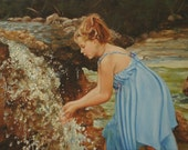 11x14 Print of oil painting narrative classical figurative realism portrait female 'Naiad' by Kim Dow