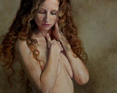 Nude Study III original oil classical nude portrait figurative portrait figure painting by Kimberly Dow - sale