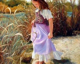 Cooling Waters original oil portrait narrative figurative portrait figure painting by Kim Dow SALE