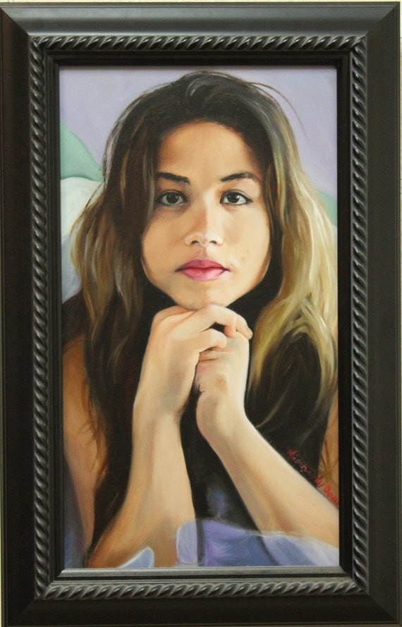 Alyssa' original oil painting 14x8 inches by Kim Dow - sale