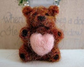 Needle Felted Miniature Teddy Bear with Pink Heart