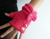 Fuchsia Pink Fingerless Mittens with Golden Buttons and Bow