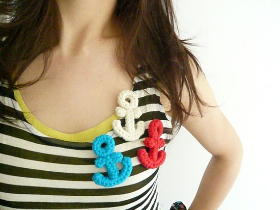 One Crocheted Cotton Anchor Brooch