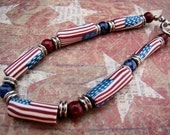Beaded Bracelet, Polymer Beads, Patriotic Theme