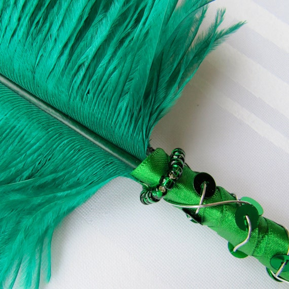 Satin Wrapped Sequinned and Beaded Ostrich Feather Ballpoint Pen - Emerald Green