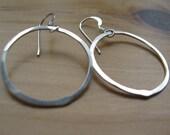 1 Recycled Sterling silver loop hoop earrings  smooth sailing