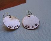 HOME SWEET HOME longitude latitude gps map globe recycled copper earrings