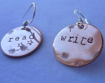copper read/write handstamped personalized earrings sterling silver