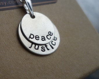 sterling silver necklace handstamped custom personalized peace justice Peace and Justice