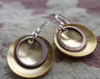 GILD recycled mixed metal handmade domed earrings