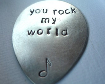 You rock my world custom personalized hand stamped sterling silver guitar pick plectrum music musical gift