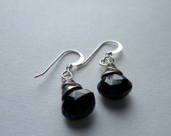 ECLIPSE faceted black spinel and sterling earrings