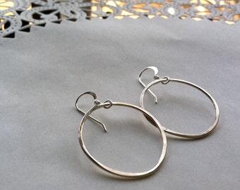 Recycled Sterling silver loop hoop earrings  smooth