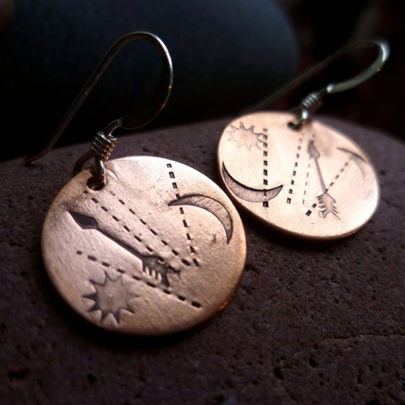 copper disc directions sun arrow moon PATHWAYS earrings lightweight recycled metal