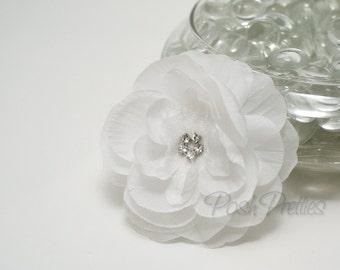 Flower Hair Clip - Elegant White - Silk and Organza Layered Flower with Rhinestone Center