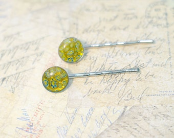 Millefiore Glass Bobby Pin - Set of two - Yellow