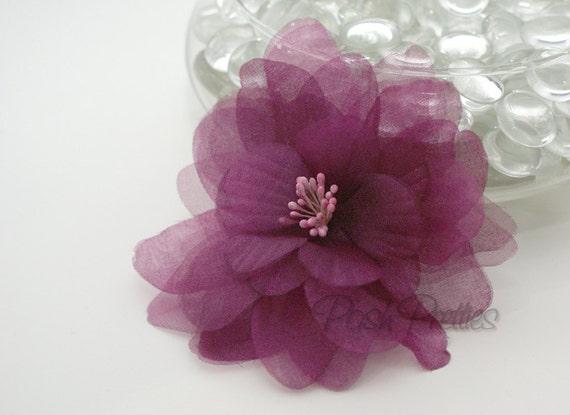 Purple Flower Hair Clip - Sheer Eggplant Delphinium