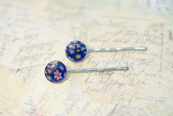 Millefiore Glass Bobby Pin - Set of two - Deep Blue