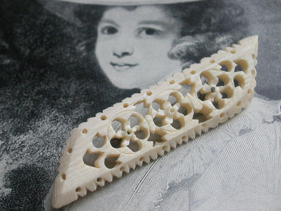 Lacy Carved Bone Brooch