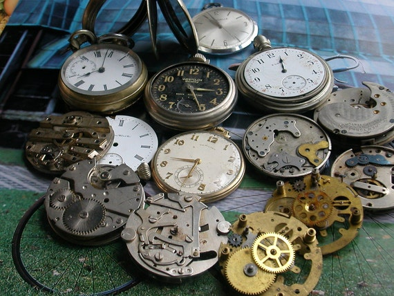 RESERVED-Pocket Watch Pieces and Parts for Repair and Reuse